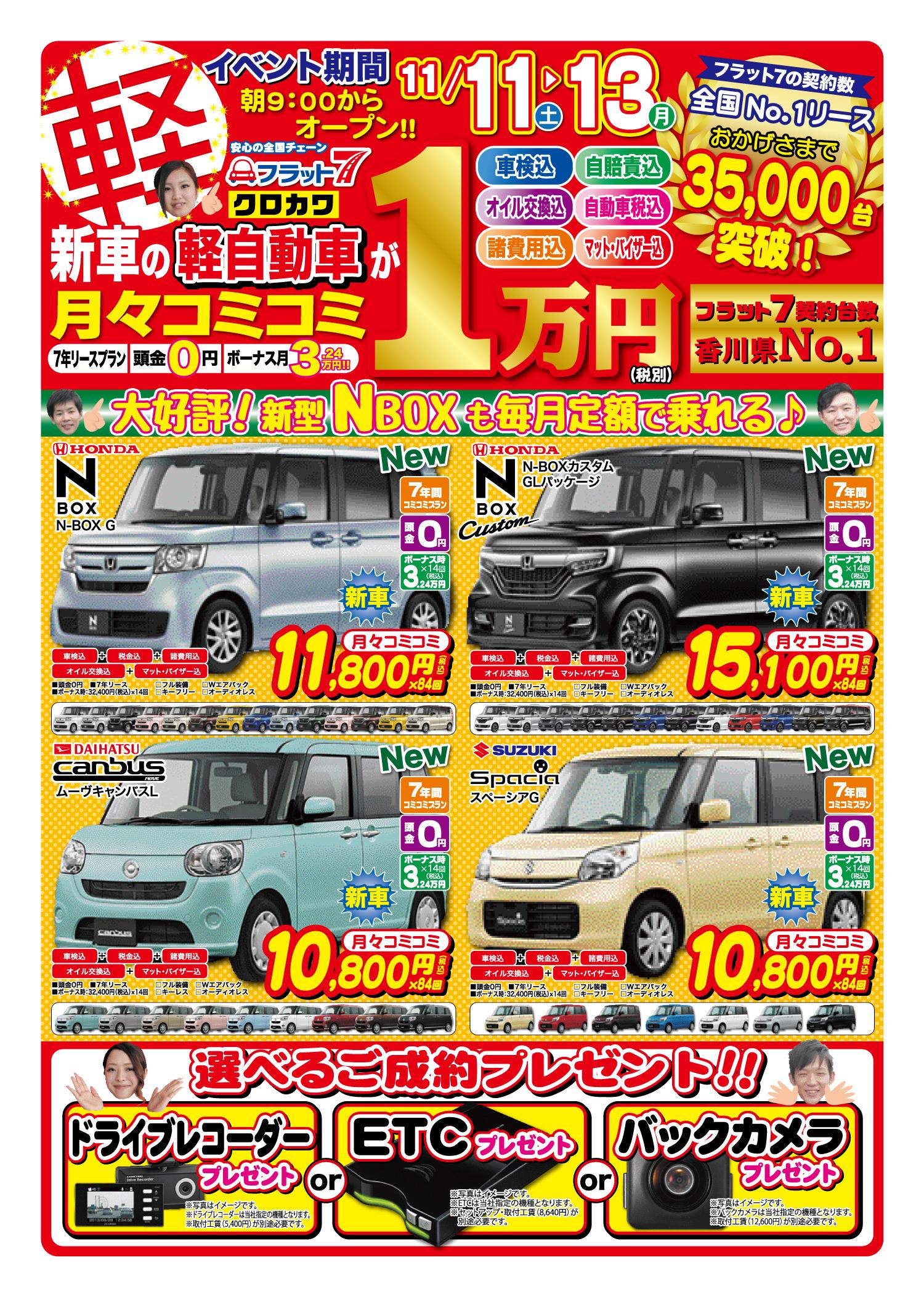 新車の軽自動車が月々コミコミ1万円〜!