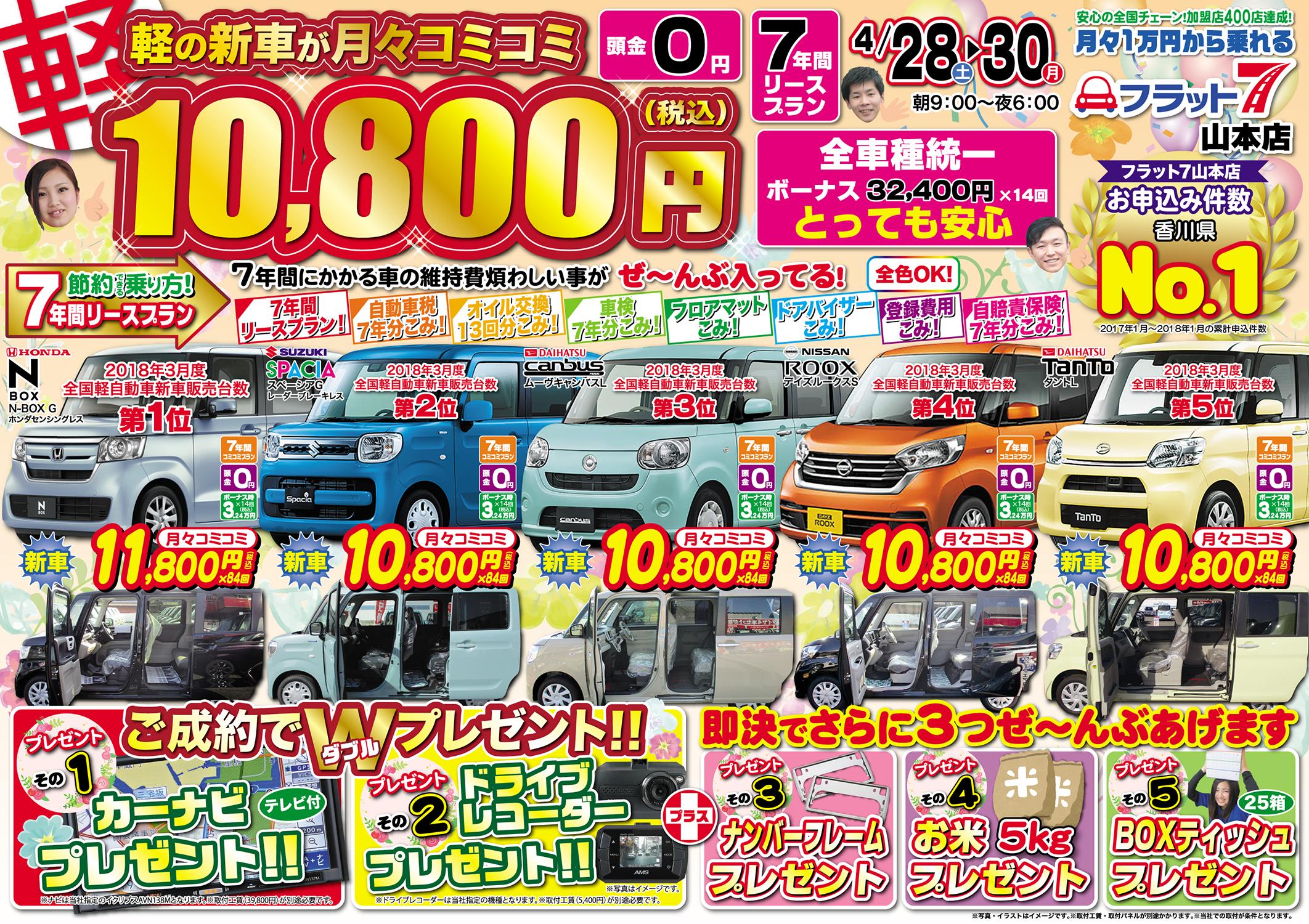 【フラット7】軽の新車が月々コミコミ10,800円!