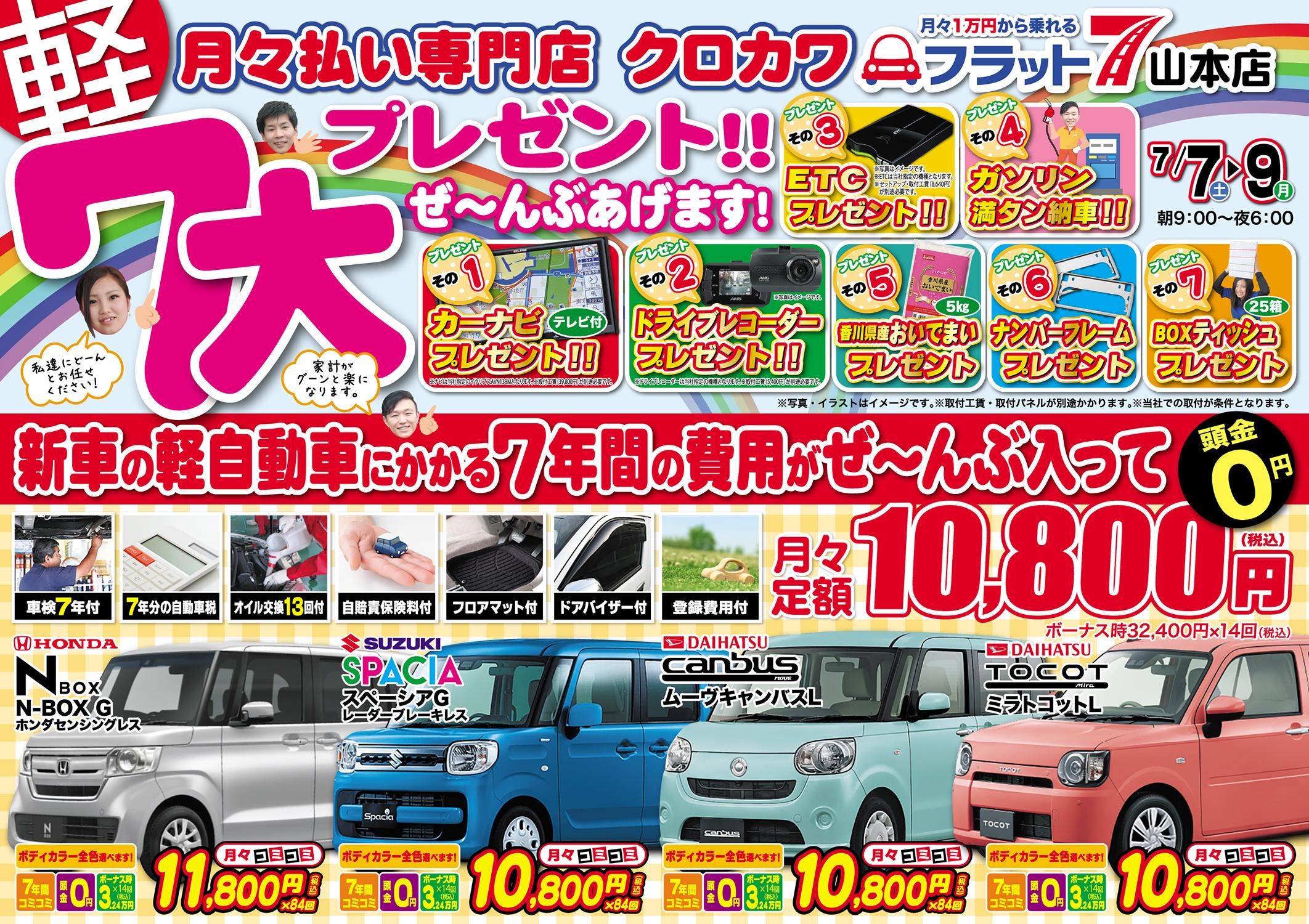 新車の軽自動車が1万円〜?!7大プレゼント!!ぜ〜んぶあげます!